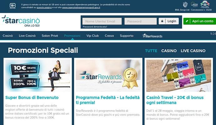 Star casino - offerta di scommesse sportive